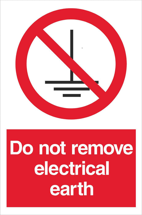 Do not remove electrical earth