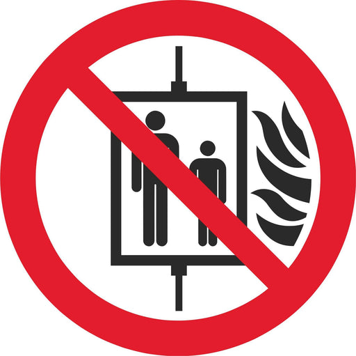 Do not use lift in the event of fire - Symbol sticker sheet