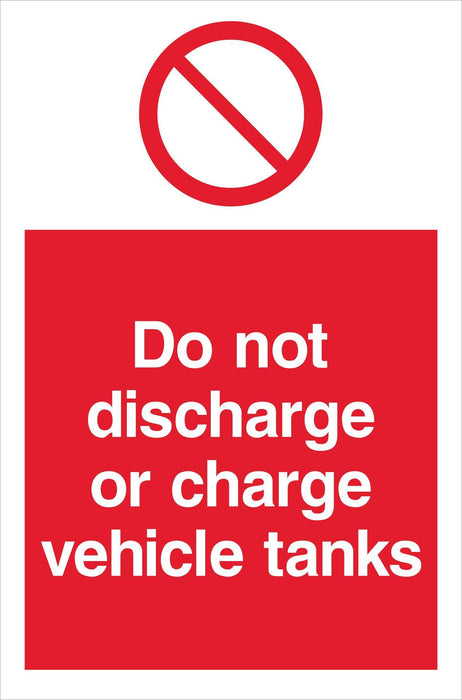 Do not discharge or charge vehicle tanks