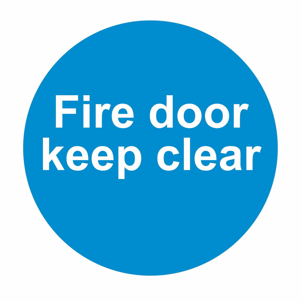 FIRE DOOR KEEP CLEAR - SELF ADHESIVE STICKER