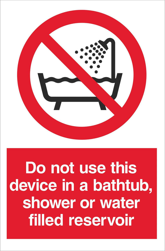 Do not use this device in a bathtub…