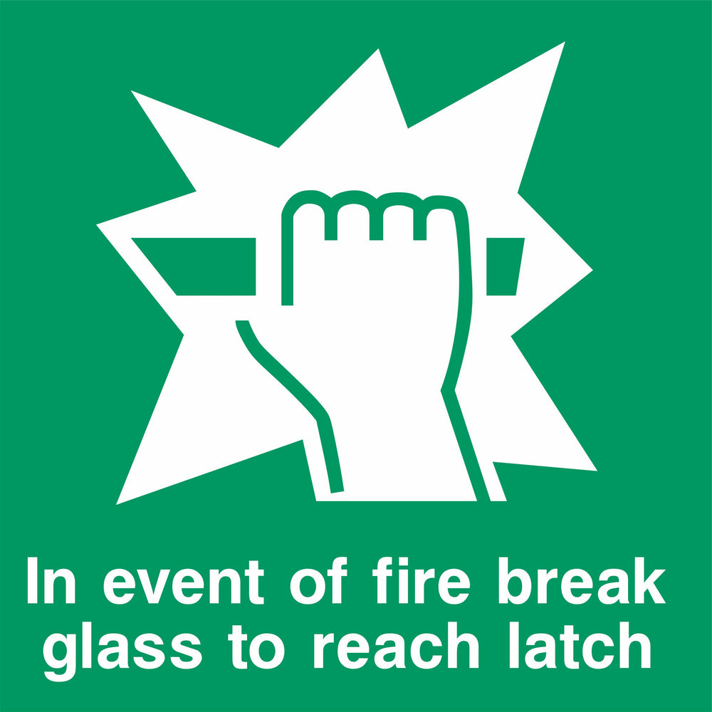 In event of fire break glass to reach latch