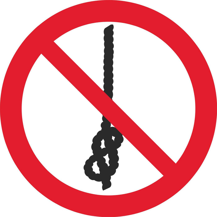 Do not tie knots in rope - Symbol sticker sheet