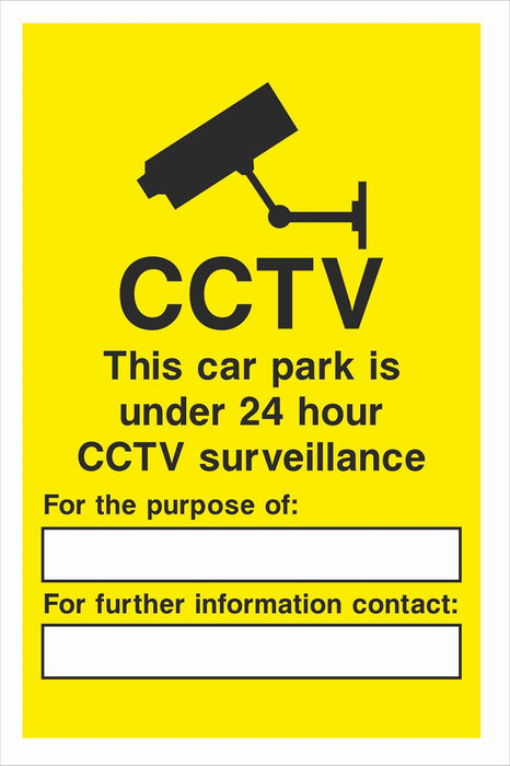 Security - CCTV  Sign - This car park is under 24 hour CCTV surveillance