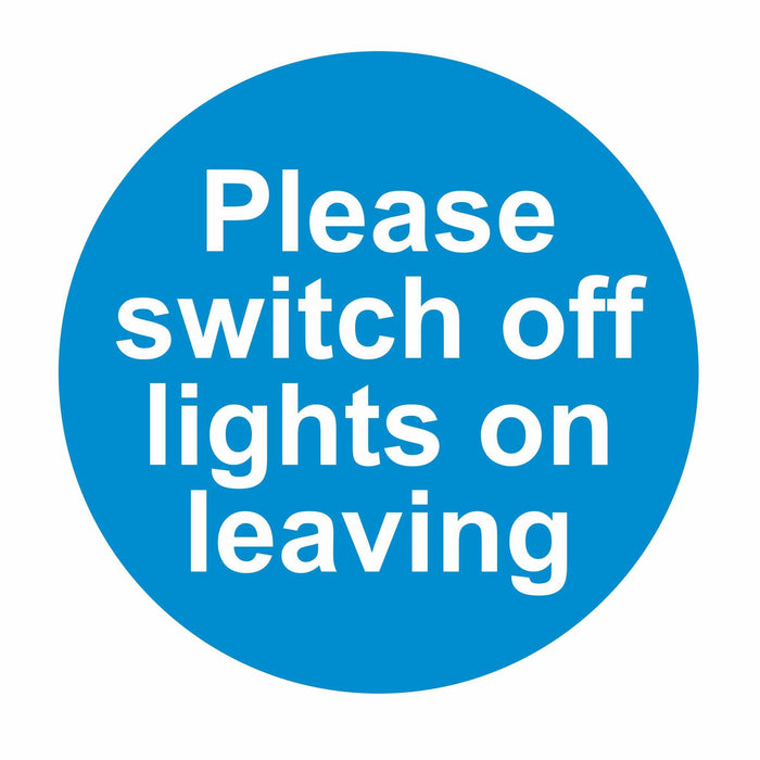 PLEASE SWITCH OFF LIGHTS ON LEAVING - SELF ADHESIVE STICKER