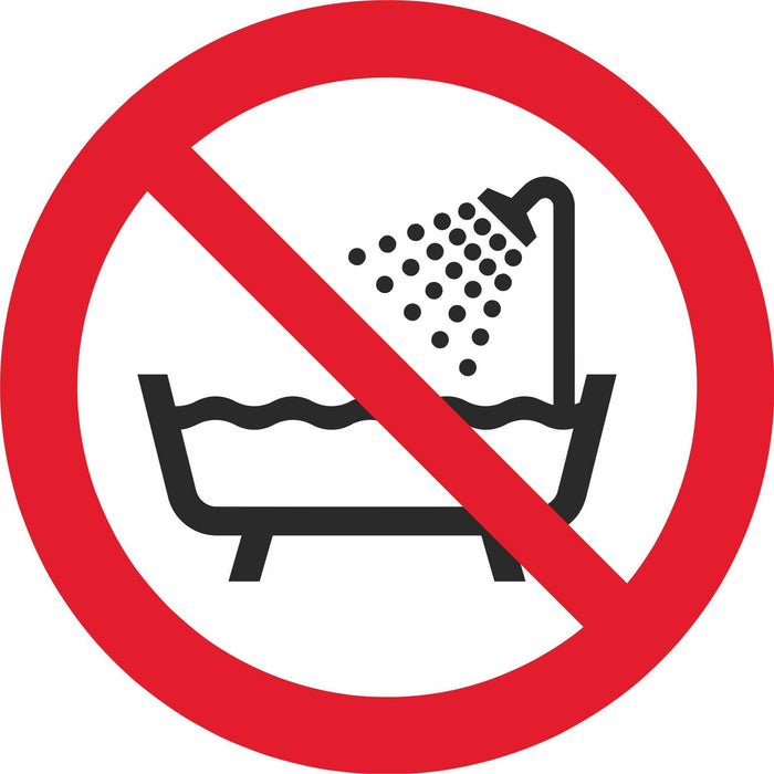 Do not use this device in a bathtub, shower, or water-filled reservoir - Symbol sticker sheet