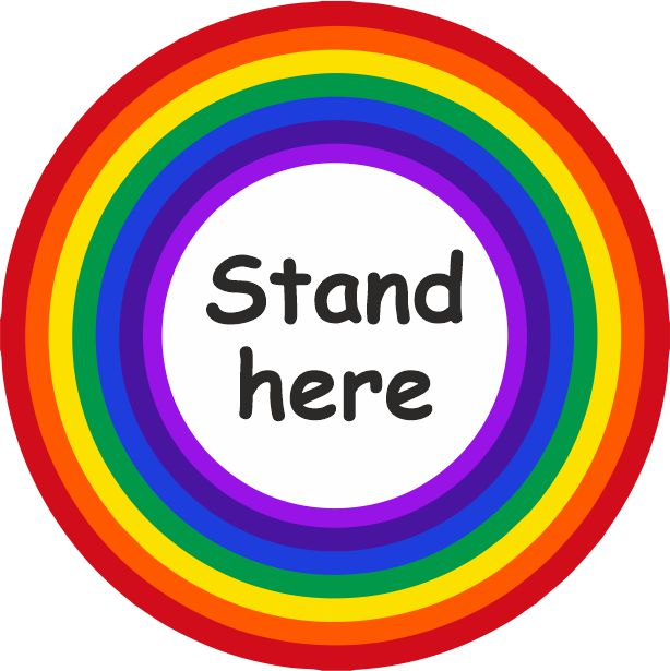 PACK OF 10 SCHOOL FLOOR STICKERS RAINBOW STAND HERE  - COVID 19 SOCIAL DISTANCING