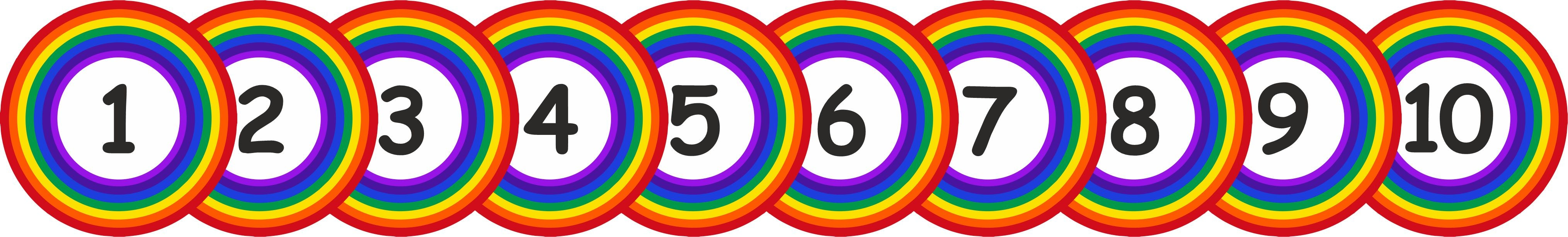 SCHOOL FLOOR STICKERS RAINBOW NUMBERS 1 - 10  - COVID 19 SOCIAL DISTANCING