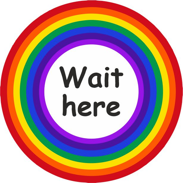 PACK OF 10 SCHOOL FLOOR STICKERS RAINBOW WAIT HERE  - COVID 19 SOCIAL DISTANCING