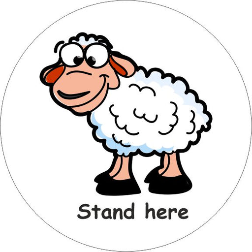 PACK OF 10 SCHOOL FLOOR STICKERS SHEEP STAND HERE - COVID 19 SOCIAL DISTANCING