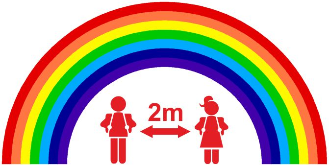 PACK OF 10 SCHOOL FLOOR STICKERS RAINBOW 2M APART - COVID 19 SOCIAL DISTANCING