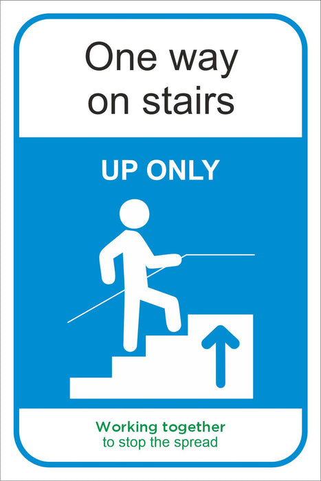ONE WAY ON STAIRS - COVID 19 SOCIAL DISTANCING SIGN