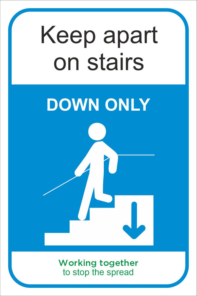 KEEP APART ON STAIRS - COVID 19 SOCIAL DISTANCING SIGN