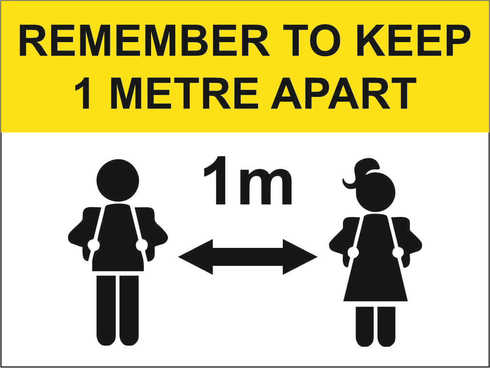 REMEMBER TO KEEP 1M OR 2M APART - COVID 19 SCHOOL SIGN