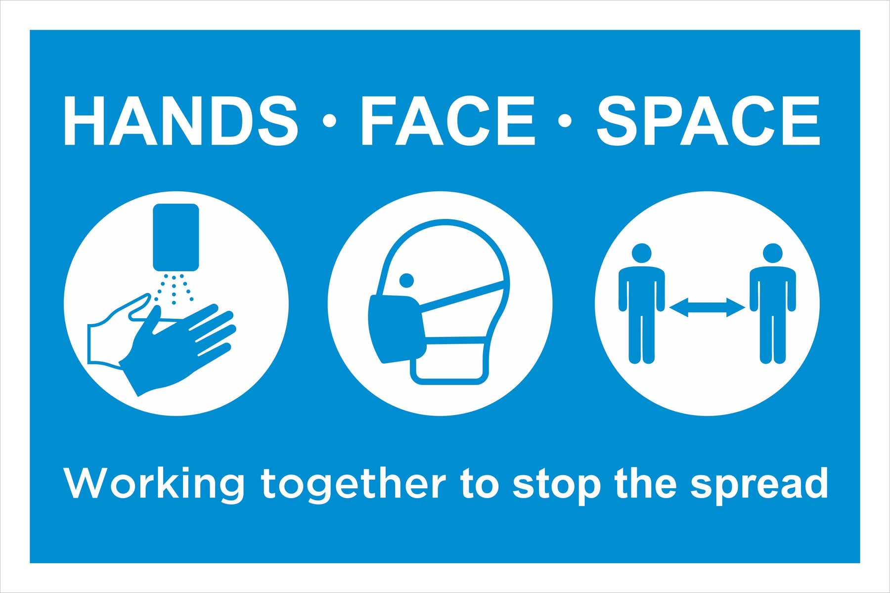 HANDS FACE SPACE SOCIAL DISTANCING SAFETY SIGN