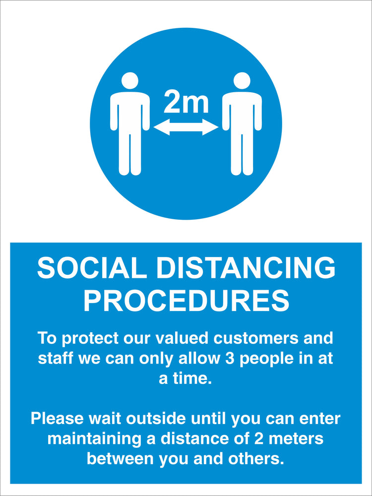SOCIAL DISTANCING PROCEDURES - ALLOW 3 PEOPLE - COVID 19 SOCIAL DISTANCING SIGNS