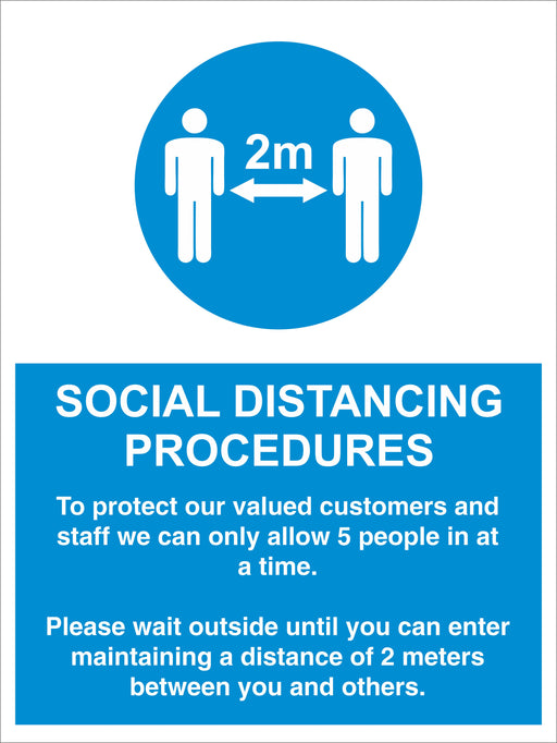 SOCIAL DISTANCING PROCEDURES - ALLOW 5 PEOPLE - COVID 19 SOCIAL DISTANCING SIGNS