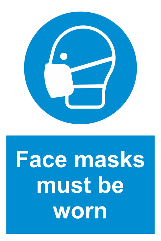 FACE MASKS MUST BE WORN - COVID 19 SOCIAL DISTANCING SIGNS