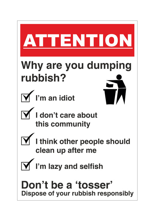 NO LITTERING, NO FLY TIPPING, NO RUBBISH DUMPING
