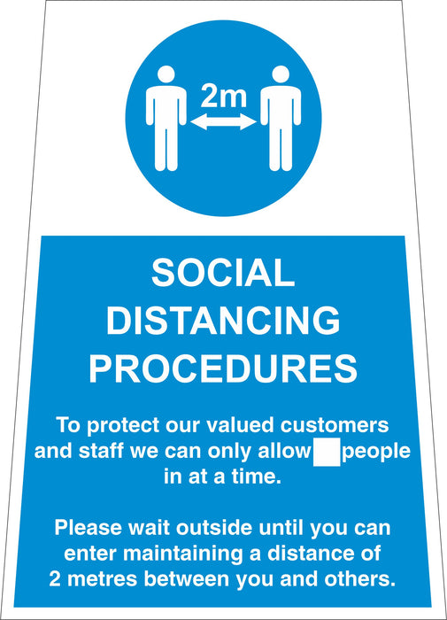 A-FRAME FLOOR SIGN - SOCIAL DISTANCING PROCEDURES - COVID 19 SOCIAL DISTANCING SIGNS