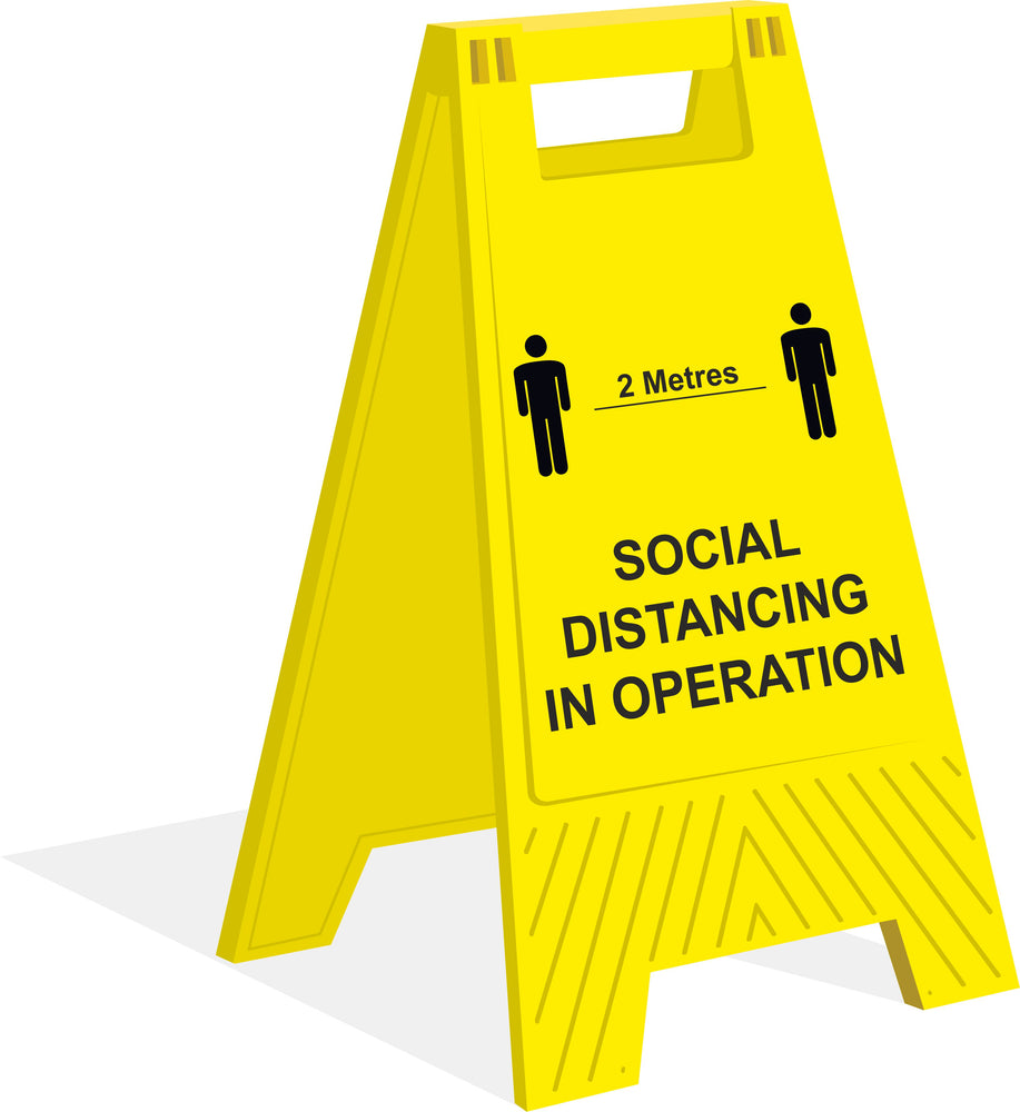 A-FRAME FLOOR SIGN - SOCIAL DISTANCING IN OPERATION - COVID 19 SOCIAL DISTANCING SIGNS