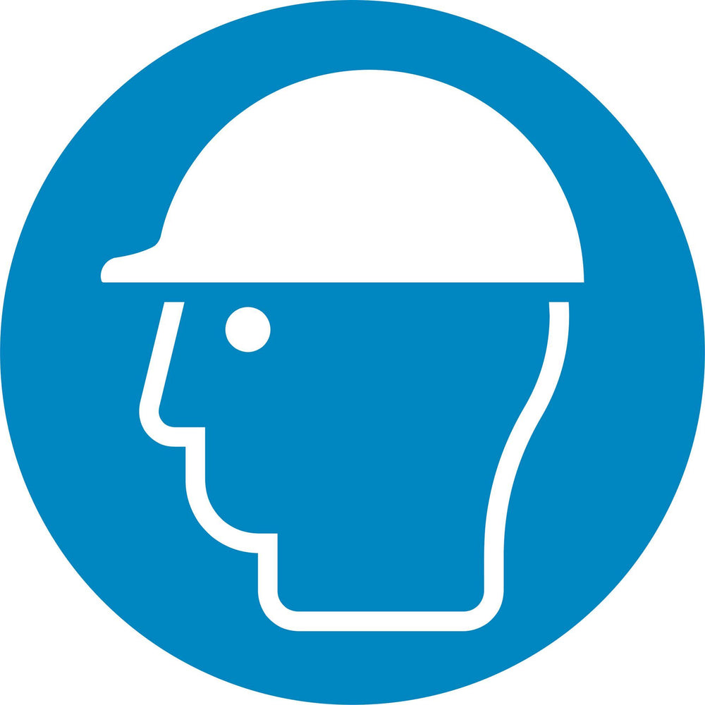 Wear head protection - Symbol sticker sheet supplied as per image shown