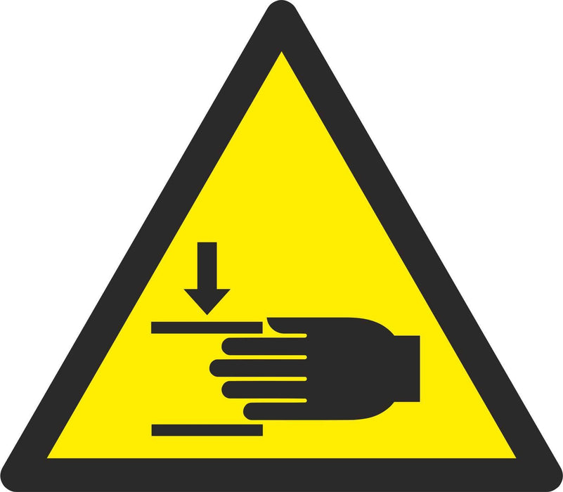 Warning Crushing of hands - Symbol sticker sheet
