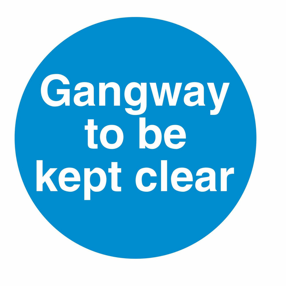 GANGWAY TO BE KEPT CLEAR - SELF ADHESIVE STICKER