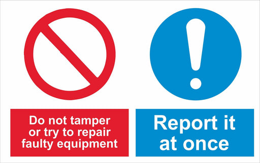 Do not tamper or try to repair faulty equipment