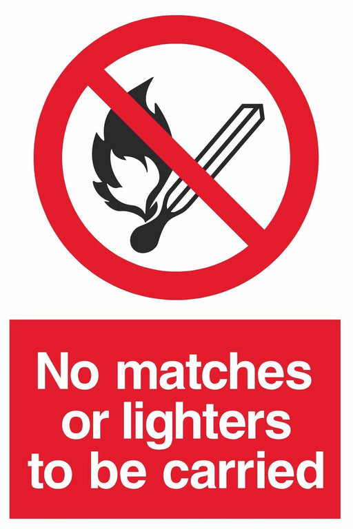 No matches or lighters to be carried