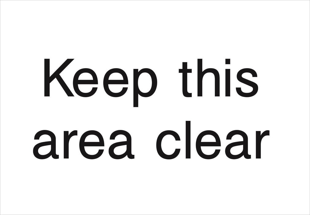 Keep this area clear