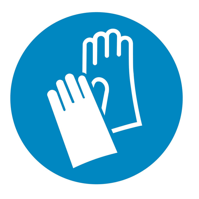 Wear protective gloves - Symbol sticker sheet supplied as per image shown