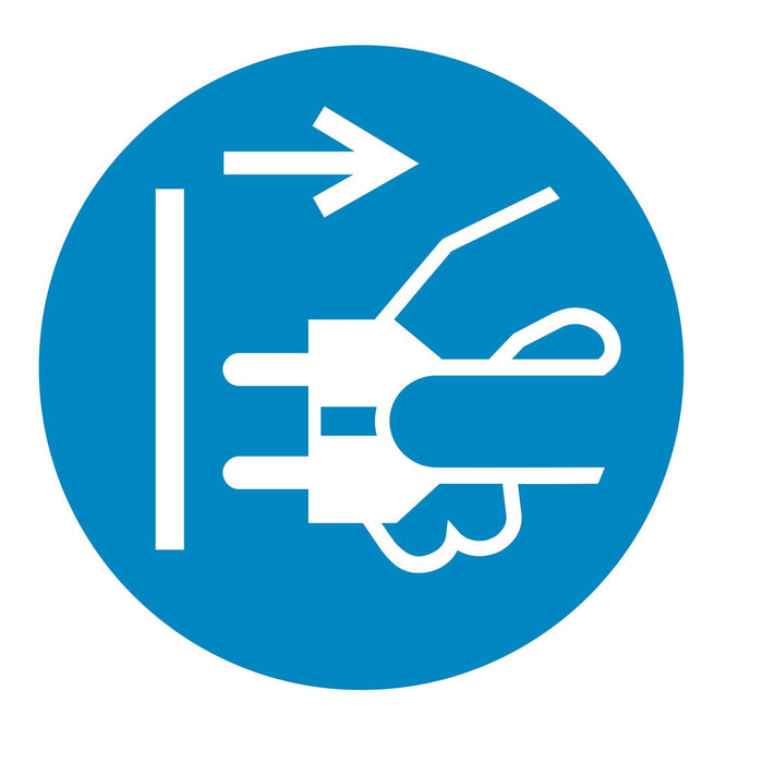 Disconnect mains plug from electrical outlet - Symbol sticker sheet supplied as per image shown