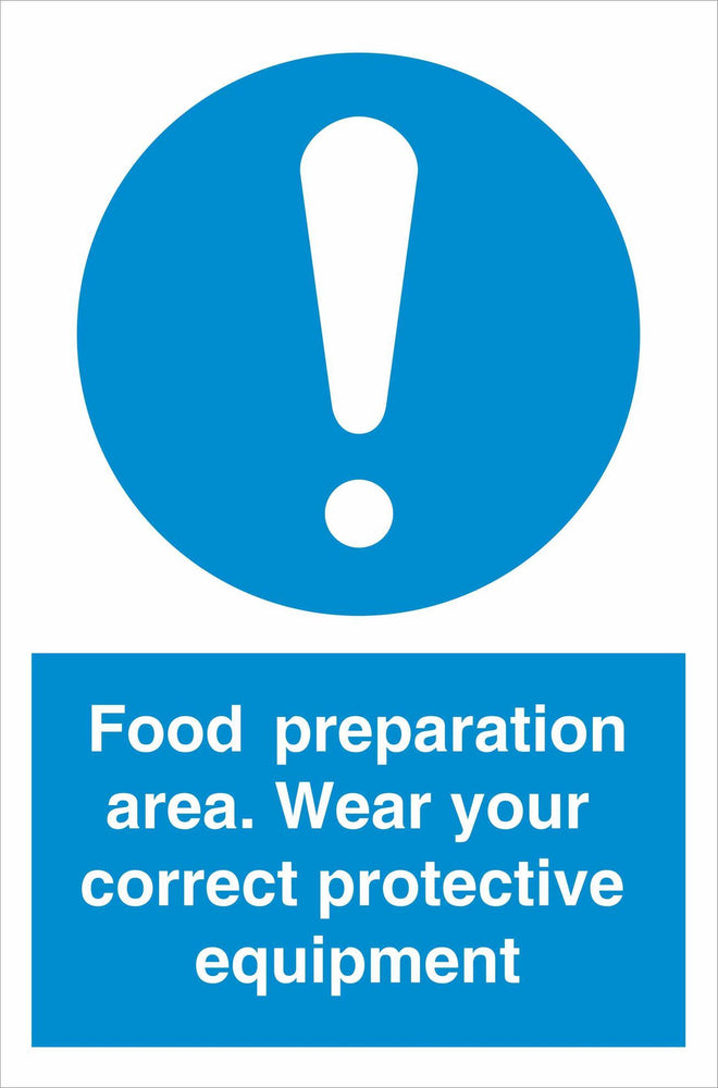 Food preparation area. Wear your correct protective equipment