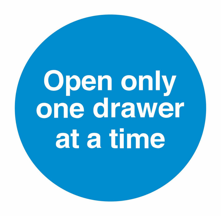 OPEN ONLY ONE DRAWER AT A TIME - SELF ADHESIVE STICKER
