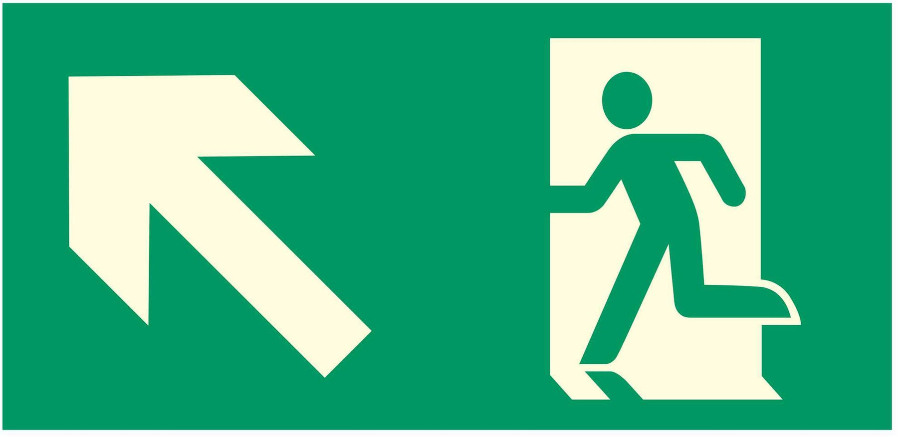 Emergency Exit  - Running Man Left - Up Left Arrow