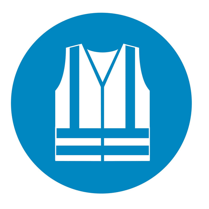 Wear high visibility clothing - Symbol sticker sheet supplied as per image shown