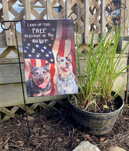 Land of the Free Blue Heeler Garden Flag-Customizable with Your Dog