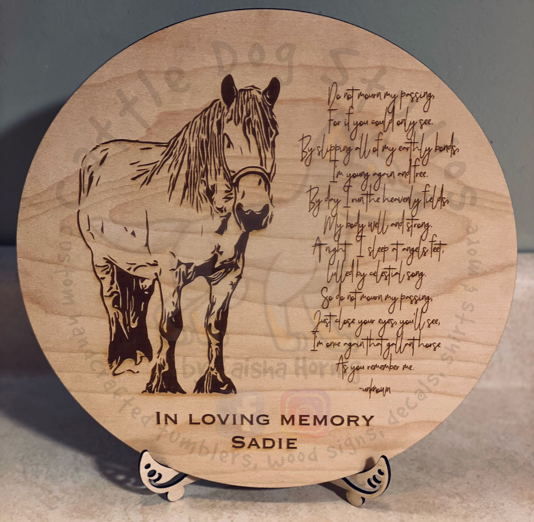 Wooden Engraved Horse Memorial Plaque