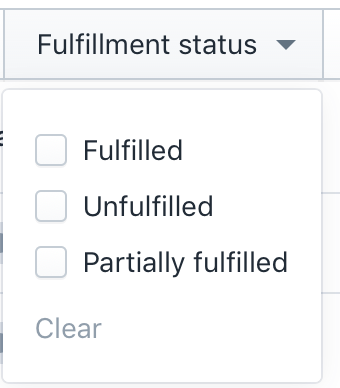 fulfillment status filter