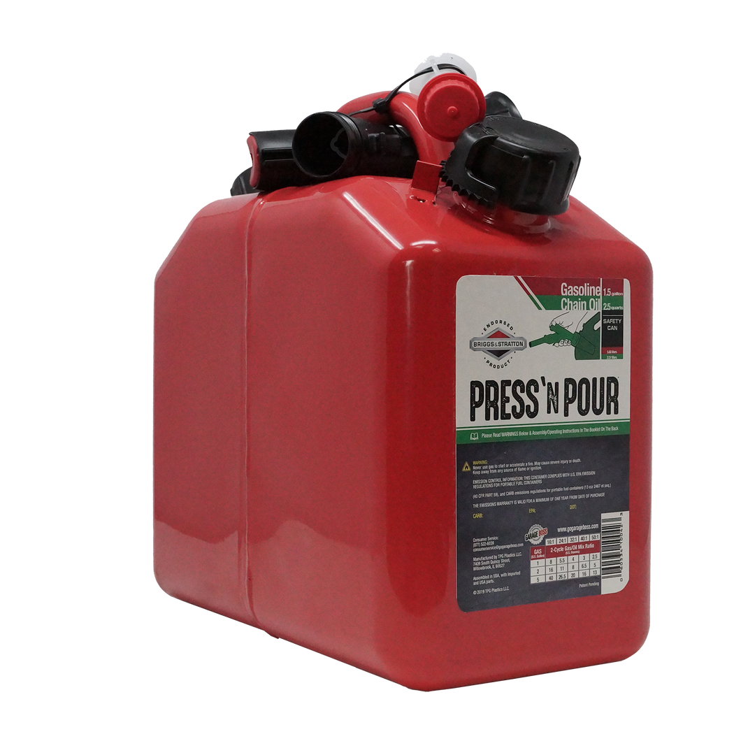 Press 'N Pour Metal Gas/Oil Combo Can