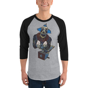 Macabre...ish Clown in a Box Heather Grey/Black 3/4 sleeve raglan shirt