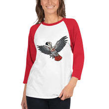 Load image into Gallery viewer, Macabre...ish Zombie Parrot 3/4 sleeve raglan shirt
