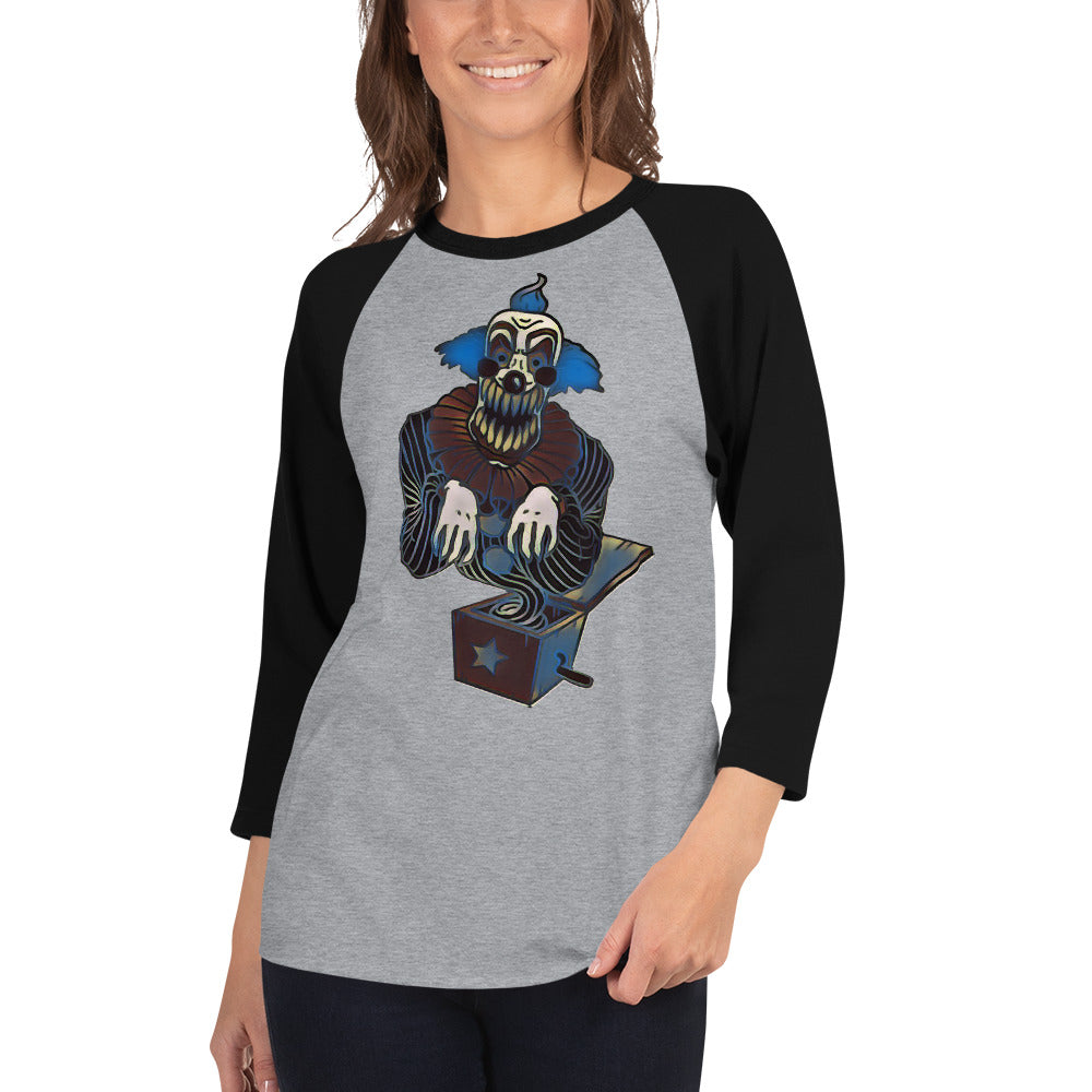 Scary Clown in a Box 3/4 sleeve raglan shirt