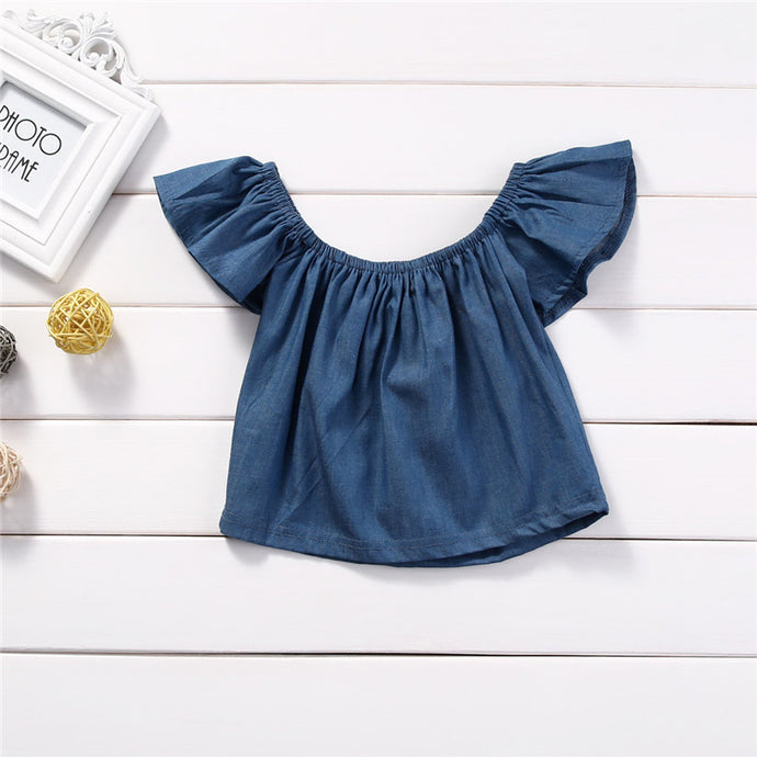 Denim Off the Shoulder Crop Top