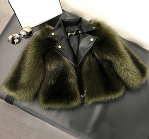 Green Faux Fur Bomber Coat