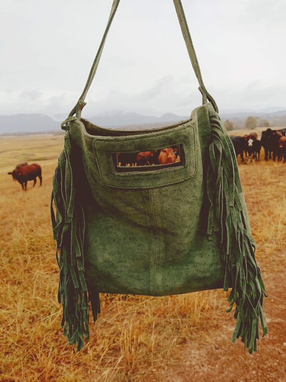 A Shade Of Jade Tassel Bag