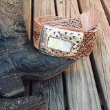 Rectangle Buckle Woven Waist Belt