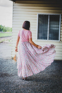 Floral extra maxi hi low skirt