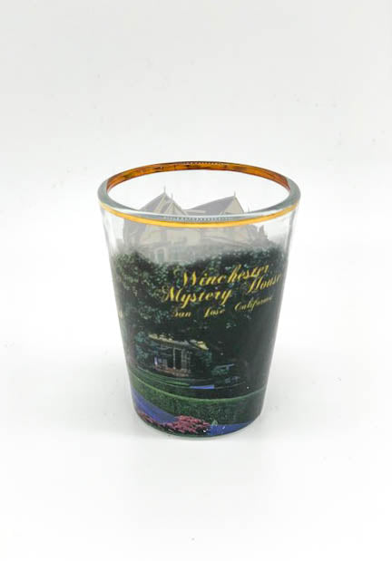 Gold Rim Winchester Mystery House Shot Glass